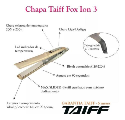 chapinha/prancha taiff fox ion 3 soft gold