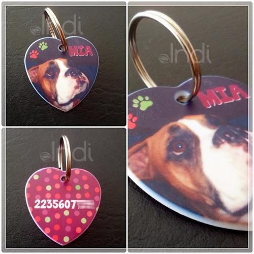 chapita identificatoria mascotas corazon