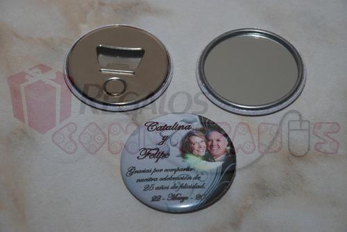 chapitas bodas de plata, gran recuerdo, pack 20 unidades