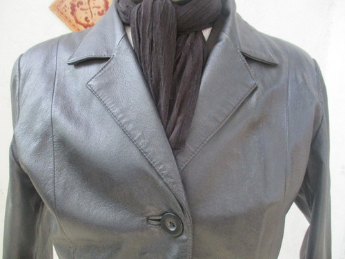 chaqueta 100%  cuero color negro de mujer talla s (rossano)