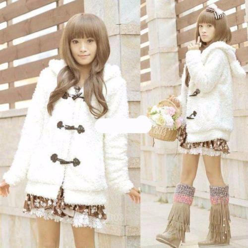 chaqueta abrigo blanca tierna conejo orejas mujer coat winte