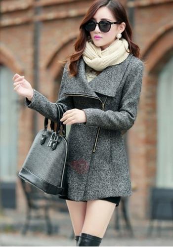 chaqueta abrigo de solapa ajustable de cierre gris claro