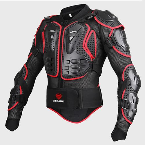 chaqueta armadura protector moto color negro rojo talla l