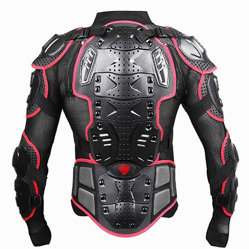 chaqueta armadura protector moto color negro rojo talla m