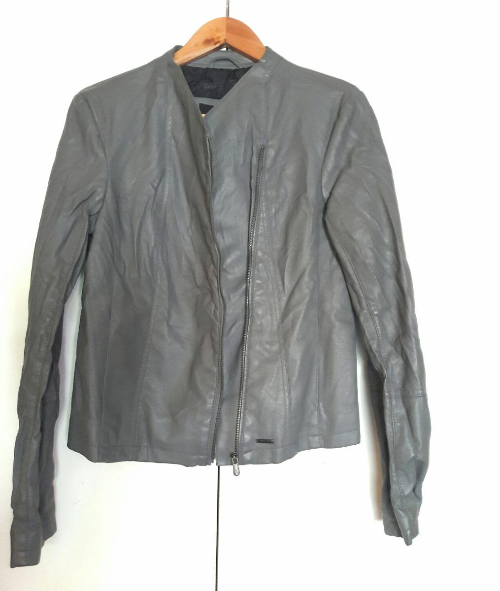 48f6e77150184 Chaqueta Biker Mujer Jjo Collection T m Simil Cuero Gris -   13.500 ...