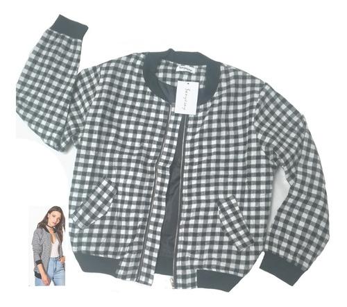 chaqueta bomber mujer  cuadros juvenil