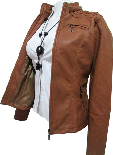 chaqueta  capota removible cuero sintético forrada