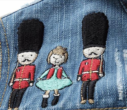 chaqueta casaca mezclilla jeans denim elf sack bordada