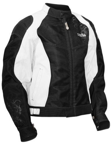 chaqueta castle streetwear desire p/mujer blanca/negra 2xl