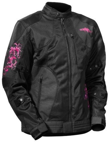 chaqueta castle streetwear prism para mujer magenta/negra md
