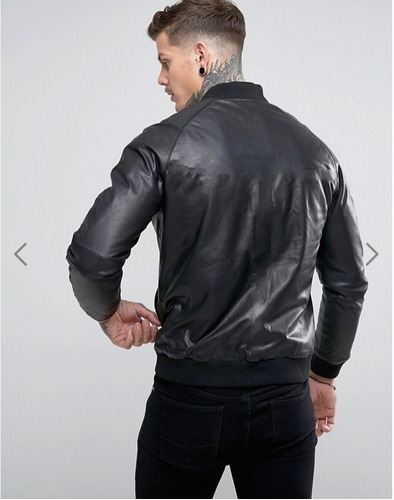 chaqueta cazadora bomber chamarra slim fit cuero faux abrigo
