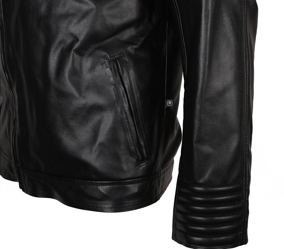 ca29a1b1347 chaqueta chamarra de cuero para hombre color negro pliegues. Cargando zoom.