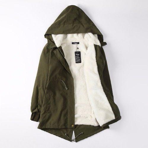 chaqueta con capucha fashion parka invierno negra & verde /