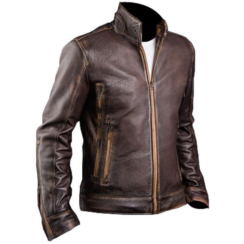 72c51e11198 chaqueta cuero auetntico estilo vintage biker marrón. Cargando zoom.