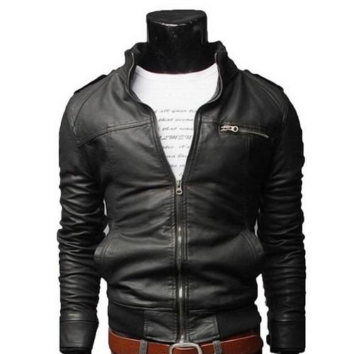 chaqueta cuero hombre 100% modelo exclusivo cuello delgado