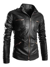 bienes de conveniencia amplia selección de colores nuevo estilo de Chaqueta Cuero Hombre Estilo Motociclista Moto Kl