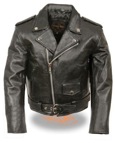 chaqueta cuero milwaukee niño estilo tradicio moto negra 5xl