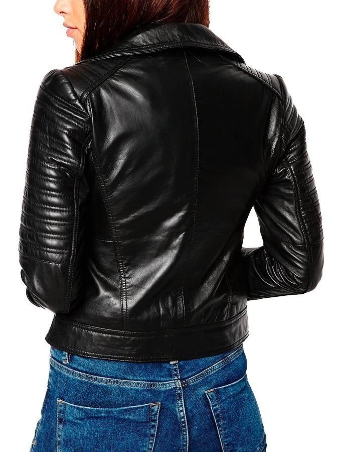 4621d69830b2 Chaqueta Cuero Mujer Estilo Chamarra Black Biker