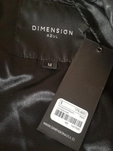 chaqueta cuero negro dimensión azul