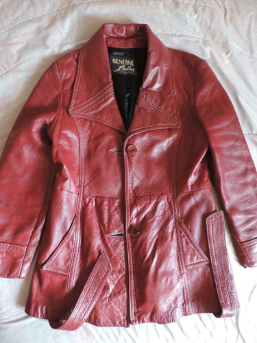 chaqueta cuero rojo talla l dama mujer usada perfecta u.s.a.