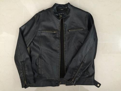 chaqueta cuero sintetico motociclista cafe oscura