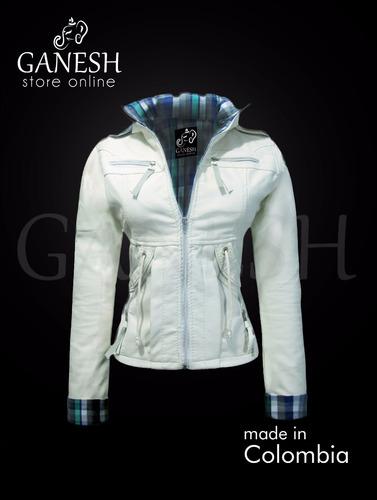 chaqueta cuero sintético mujer ganesh forrada capota removib
