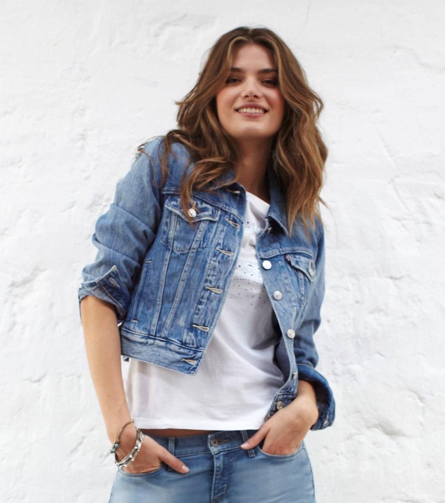 Compra chaleco de jean azul para las mujeres online al por