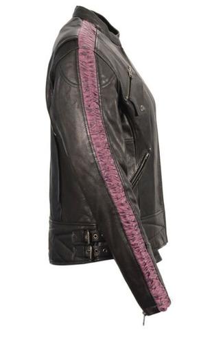 chaqueta d/carrera milwaukee dama d/cuero c/arruga brazo sm