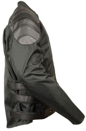 chaqueta de carrera milwaukee p/hombre cuero/tela negra 3xl