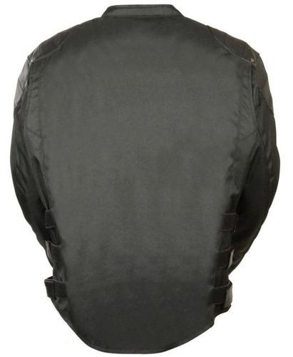 chaqueta de carrera milwaukee p/hombre cuero/tela negra md