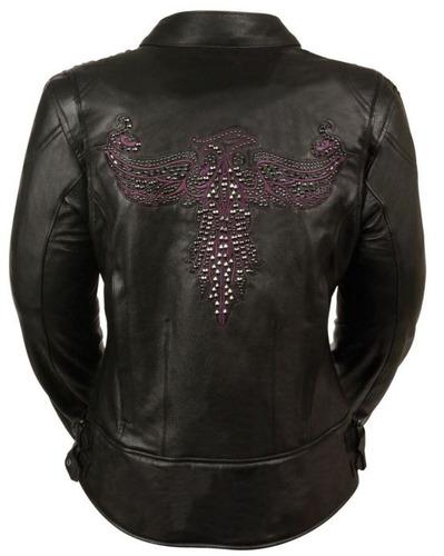 chaqueta de carreras milwaukee de cuero c/bordado morado xl