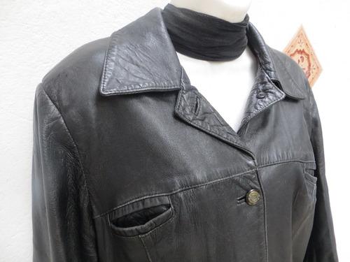 chaqueta de cuero color negro para mujer talla  44