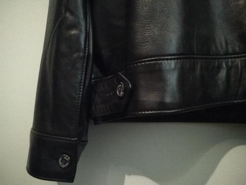 chaqueta de cuero negra polo ralph lauren. como nueva!