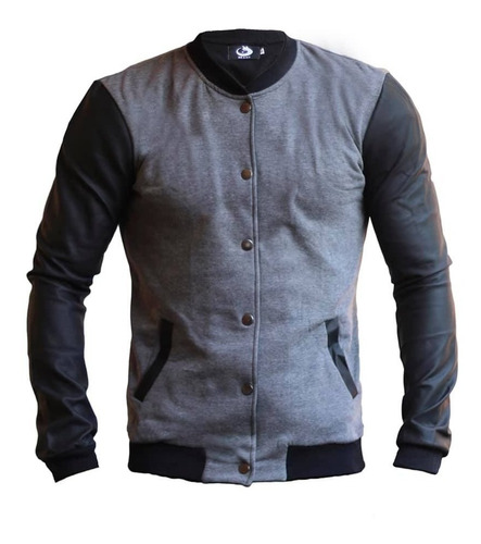 chaqueta de cuero sintetico gris oscuro original buzo maxi®