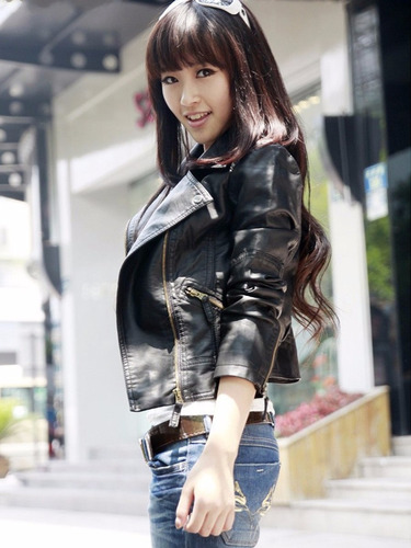 chaqueta de cuero sintetico pu negra fashion winter slim mot