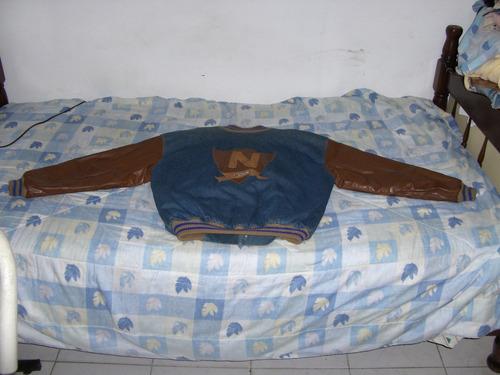 chaqueta de cuero y jean para caballero, talla 40
