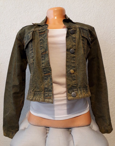 chaqueta de jean verde