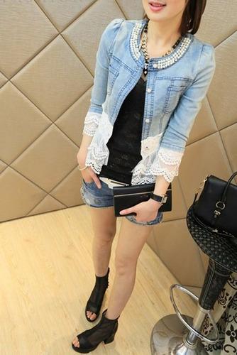 chaqueta de jeans con diseño de encaje(por encargue)