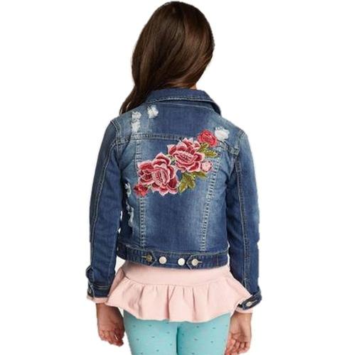 chaqueta de mezclilla con bordado de niña tallas 3-4-6-8-10