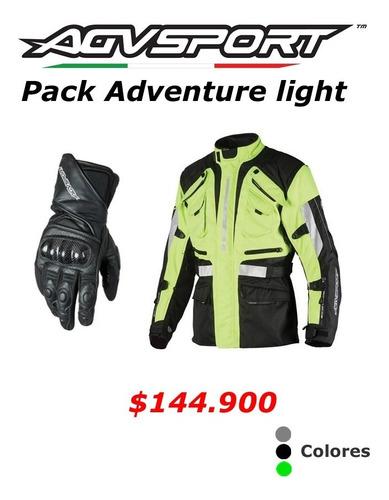 chaqueta de moto agvsport navigator y guantes silver stone