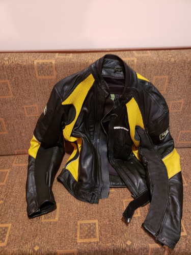chaqueta de moto bosi de cuero con jiba talla l