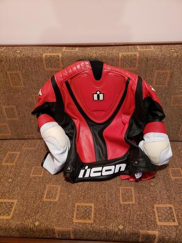 chaqueta de moto icon overlord de cuero talla sm