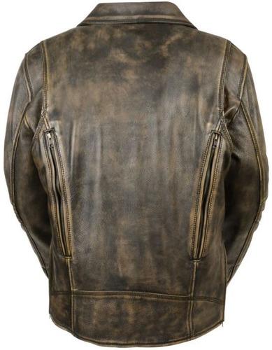 chaqueta de motociclista milwaukee p/hombre cuero s/cinto sm