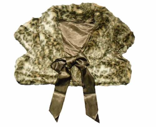 chaqueta de piel sintética con lazo de raso