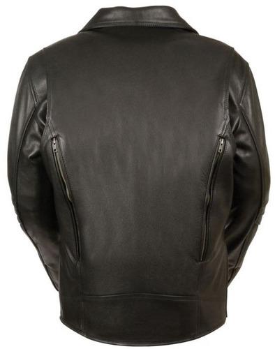 chaqueta d/motociclista milwaukee homb cuero s/cinto neg md