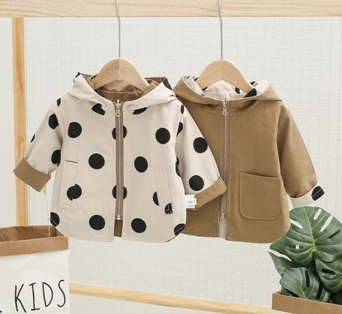 chaqueta doble faz color café y beige
