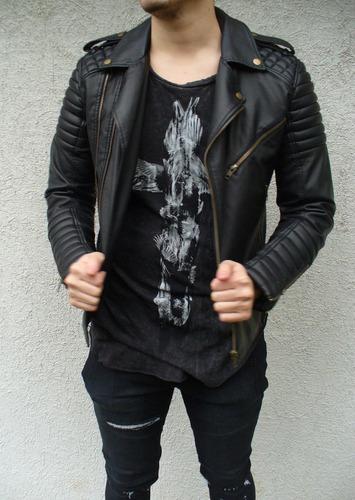 chaqueta eco cuero biker hombre negra liff store