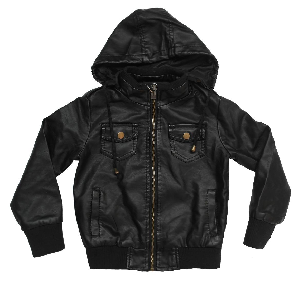 c9289623bcf Chaqueta Eco Cuero Negra Infantil Con Gorro -   16.990 en Mercado Libre