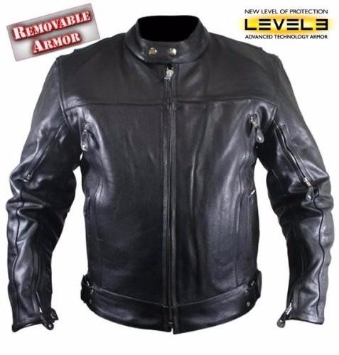 chaqueta en cuero importada para moto con protecciones