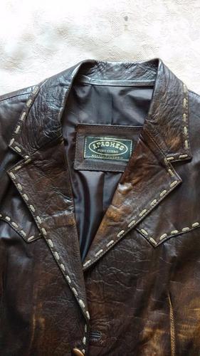 chaqueta en cuero modelo tipo envejecida